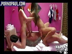 Two Asian massage girls riding dick