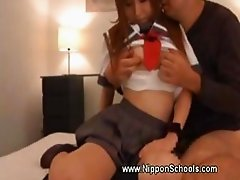 Asian teen doll blows cock