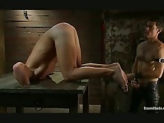 Skinny gay dude got whipped and bondaged in the dungeon