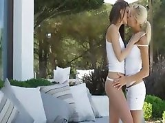 Art sapphic babes in spanish garden