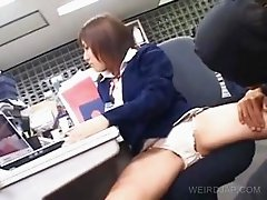 Asian cutie gets cunt teased at work
