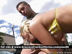 Horny blonde slut outside gets a blowjob