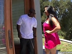 Phat asian chick Kya Tropic gets her tight muff drilled by big black boner
