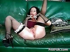 Horny big boobed slut fuck herself part2