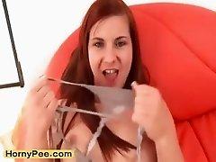 Redhead teen cutie pee