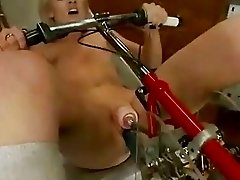 Overworked blonde uses fucking machines
