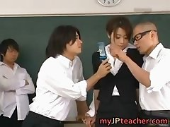 Maki Houjo Hot Asian teacher enjoys sex