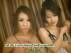 Saki Ootsuka and Romihi Nakamura and Haruka Sanada innocent cute girls are teasing her boyfriend