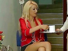 Classy blonde gets bondaged and fucked
