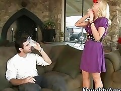 Platinum blonde housewife jumps on massive stiff rod