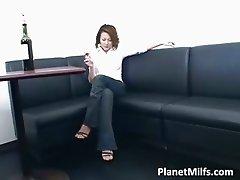 Horny brunette MILF puts her hand