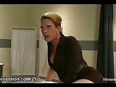 Tranny fucks her coworker in office
