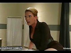 Tranny fucks her coworker in office