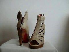 Shoefuck and cum on Friend Brown heels
