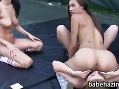 Naked newbie sorority lesbians does some running drilles then toying and pussy licking action on a tennis court