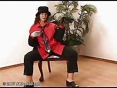 brunette milf stripping