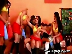 Tranny shemale group banging one guy