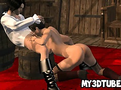 Sexy 3D brunette sucks cock and gets fucked hard