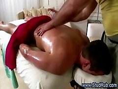 Horny gay masseur checks out his straight client