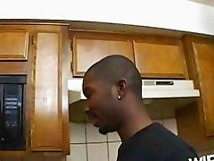 Brunette with big natural bosom gets slammed in kitchen