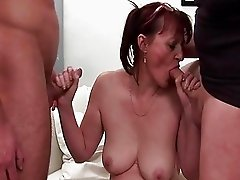 Horny granny likes five cocks in her at once