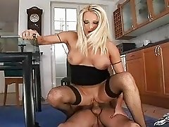 Heavy chested blonde momma gets her asshole penetrated on flor