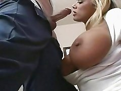 Busty hot babe Shyla Stylez takes a long stiff cock in her mouth like a popsicle