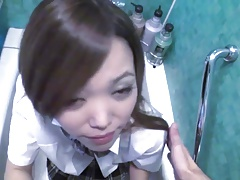Japanese Girl's Washroom Blowjob