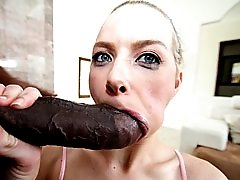 Sporty blonde sucks big black cock