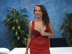 Glamorous looking massage lady enjoys deep cock insertion