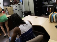 Black dude pawns his sexy GFs coocchie at the pawnshop