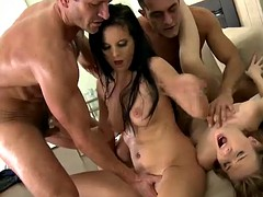 bitches gettin' their asses fucked in hot foursome