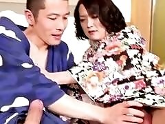 Imposing Japanese gets the best handjob of her young life