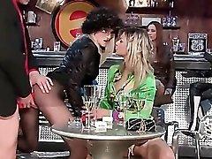 Slut fucked in the bar as friends look on