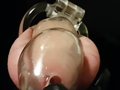 Locked rubber sub sucking me off