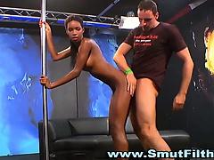 Ebony slut group facial