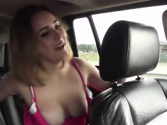 Blonde Hitch hiker Mia Scarlett gives her thanks with a BJ