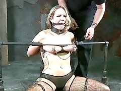 Tied up bitch got her tits destroyed pretty hard BDSM