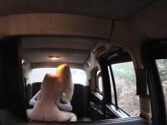 Busty amateur blonde passenger jizzed by fraud driver