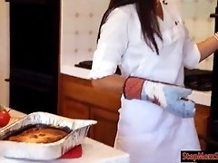 India Summer and Kacy Lane threesome session in the kitchen