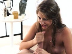 Feisty brunette Presley Hart seduces her man with a new bra