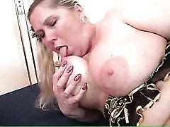 Fat chick in fishnets masturbates her pussy solo