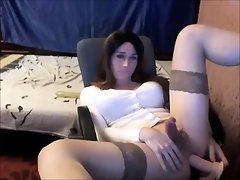 Transsexual fapping her penis and dildoing her butt