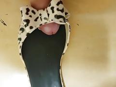 Leopard Print Peep Toe Flats Fucked & Cummed