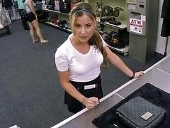 Sexy waitress pounded at the pawnshop