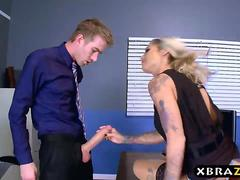 MILF boss inspires her office employees by fucking them