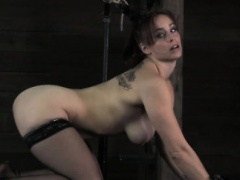 Cruel mistress punishes her female slave anally