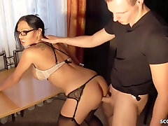 Enticing, German dark-haired with glasses is dressed in pantyhose and getting analed, from the back