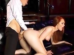 Bound redheaded babe freed and fucked from behind
