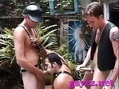 Gay chick with taut ass and big jock enjoys fetish fucking
